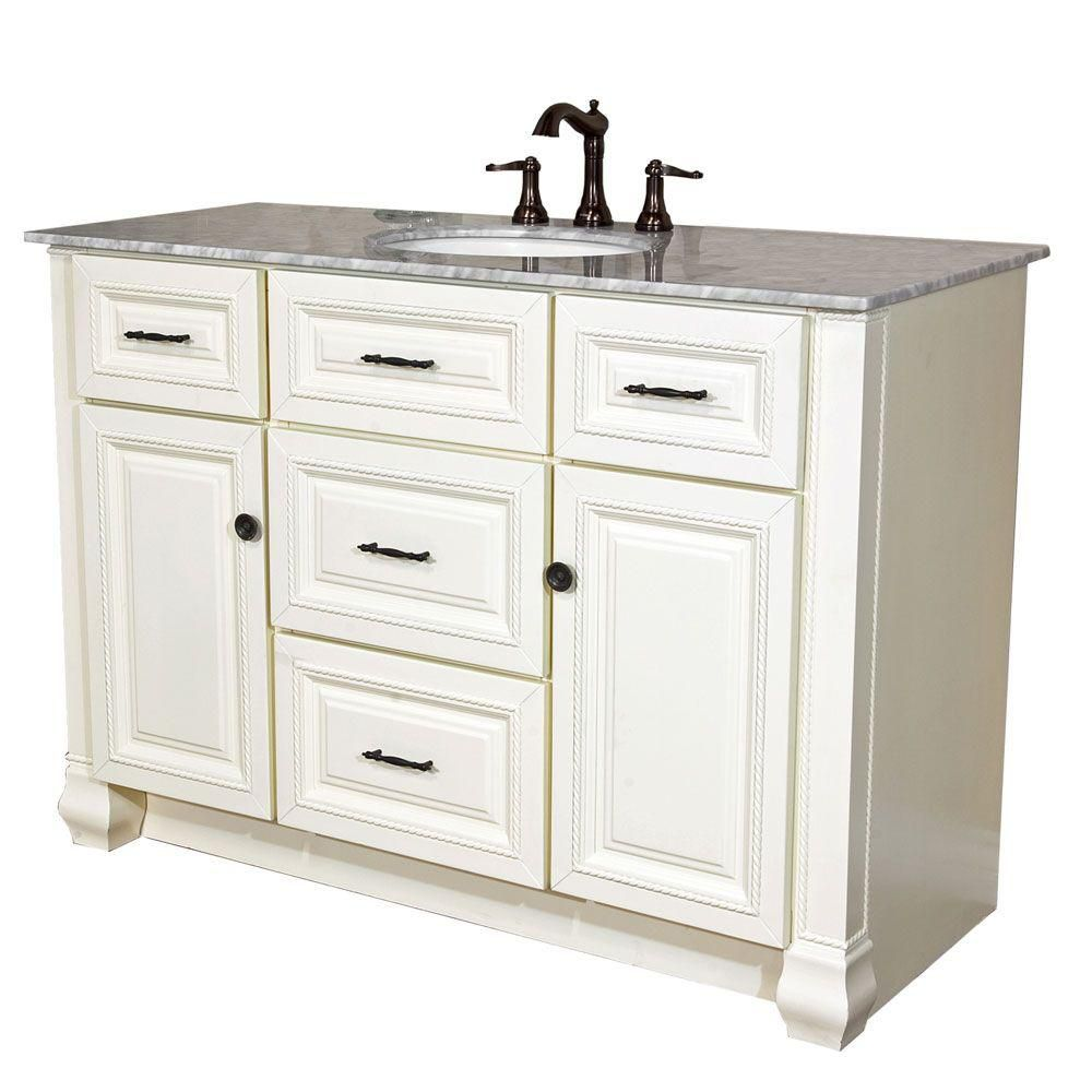 Rimini 50-inch W Vanity in Cream White Finish with Marble Top in White