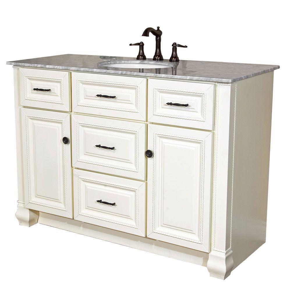 Bellaterra Rimini 50-inch W 4-Drawer 2-Door Freestanding Vanity in White With Marble Top in White