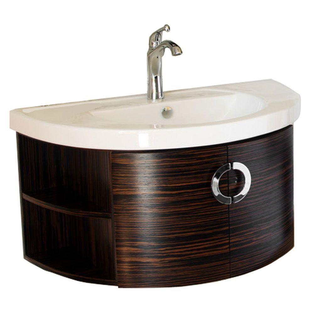 Sandhurst Meuble-lavabo ébène/zèbre de 34 po avec comptoir en céramique blanche