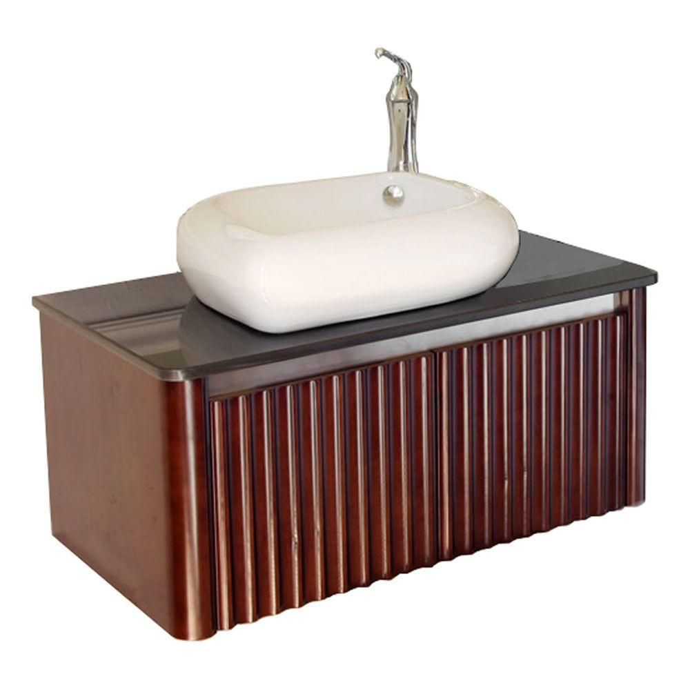 Stephenson 33-inch W Vanity in Walnut Finish with Marble Top in Black
