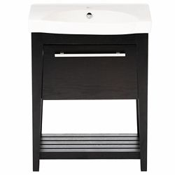 Bellaterra Luton 28-inch W x 18-inch D x 36-inch H Single Sink Wood Vanity in Black with Porcelain Top in White