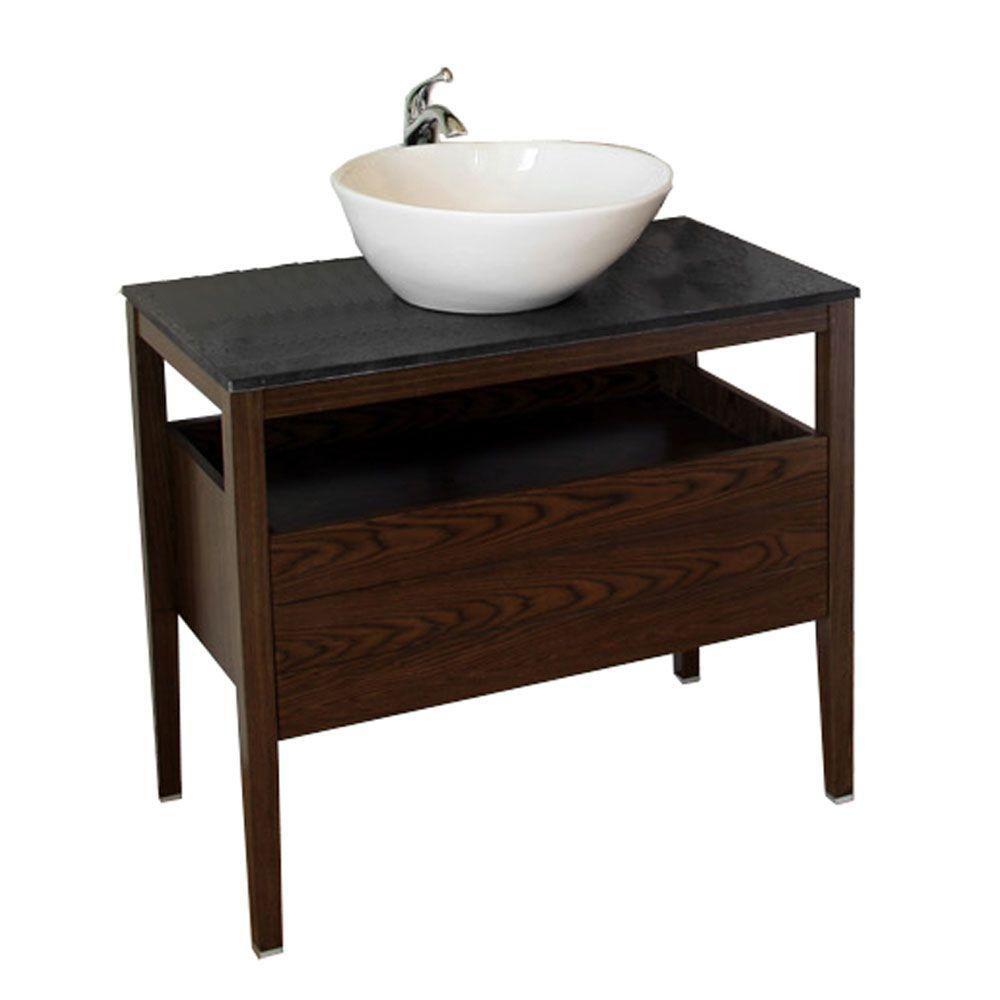 Clifford Meuble-lavabo noyer foncé de 36 po avec comptoir en granit de couleur noir galaxie