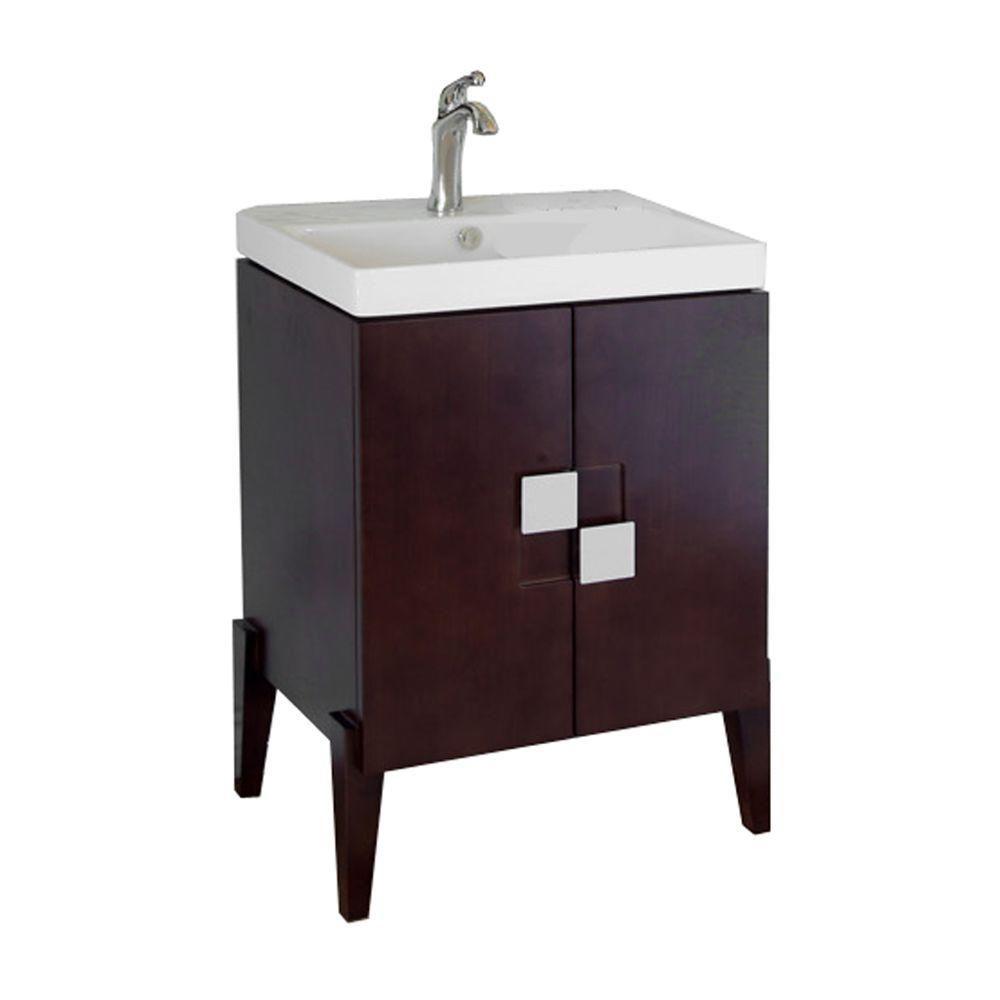 Bellaterra Perth 25-inch W 2-Door Freestanding Vanity in Brown With Ceramic Top in White