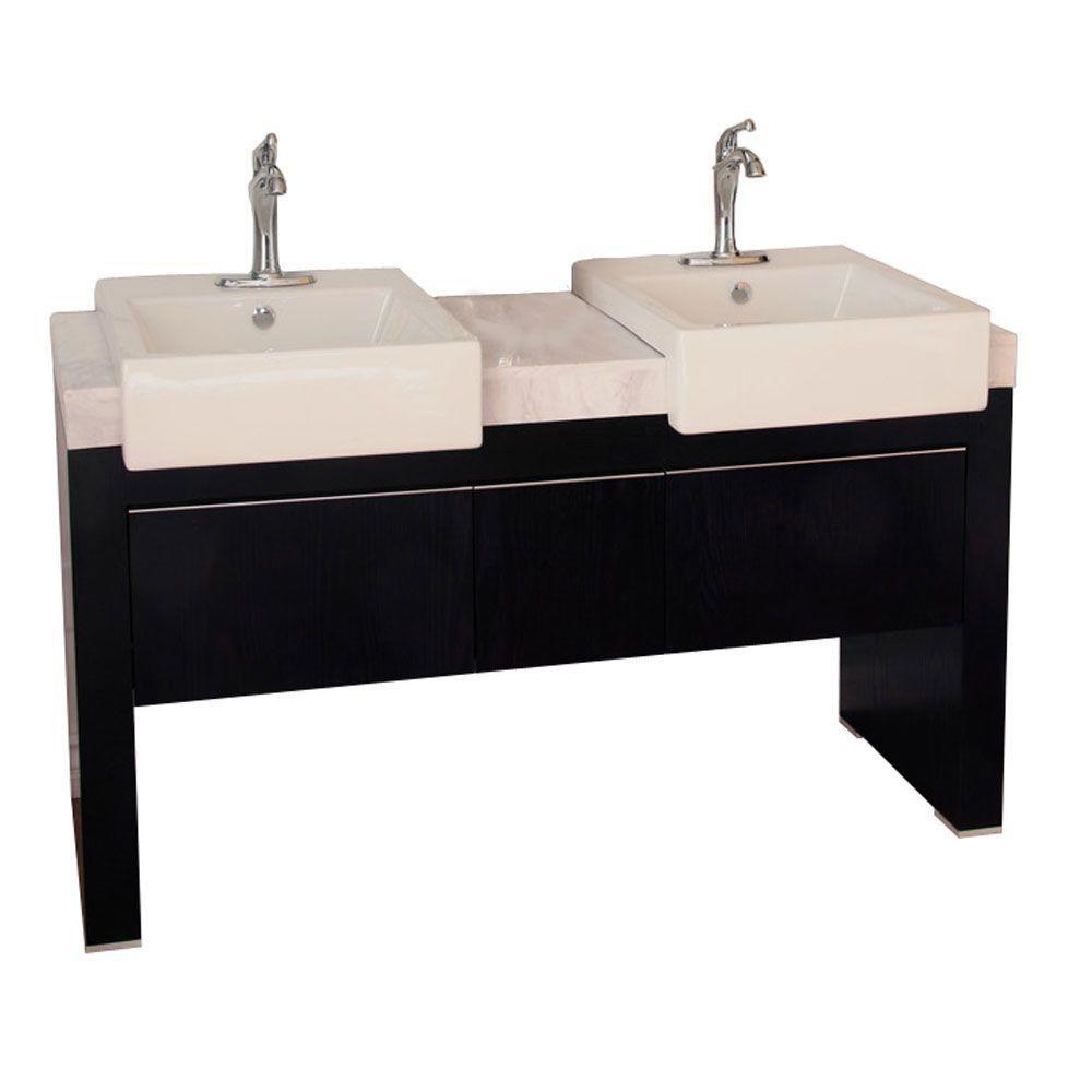 Crawley Meuble-lavabo double noir de 58 po avec comptoir en marbre blanc