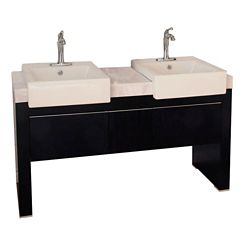 Bellaterra Crawley 57.75-inch W 3-Drawer Freestanding Vanity in Black With Marble Top in White, Double Basins