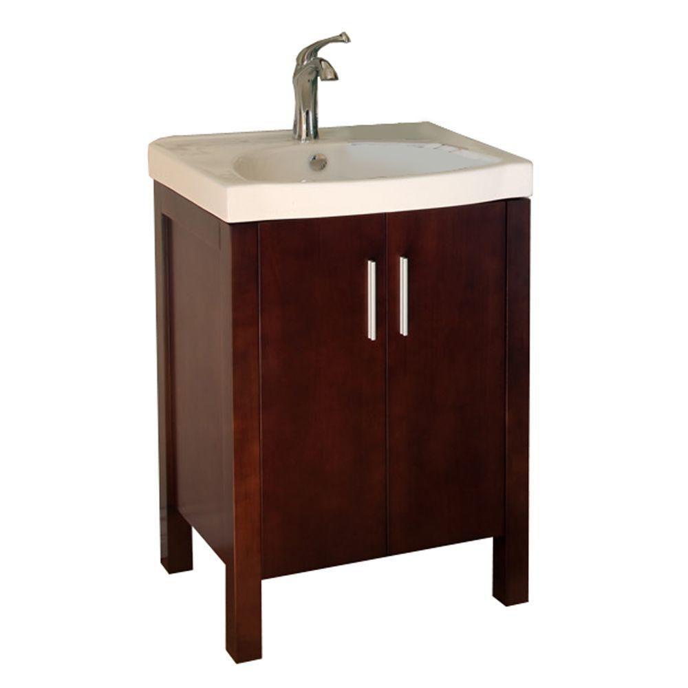 Bellaterra Haywood 24-inch W 2-Door Freestanding Vanity in Brown With Ceramic Top in White