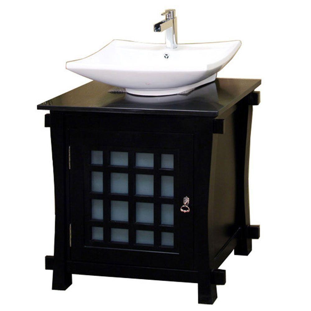 Bellaterra Bradford 30-inch W 1-Door Freestanding Vanity in Black With Ceramic Top in Black