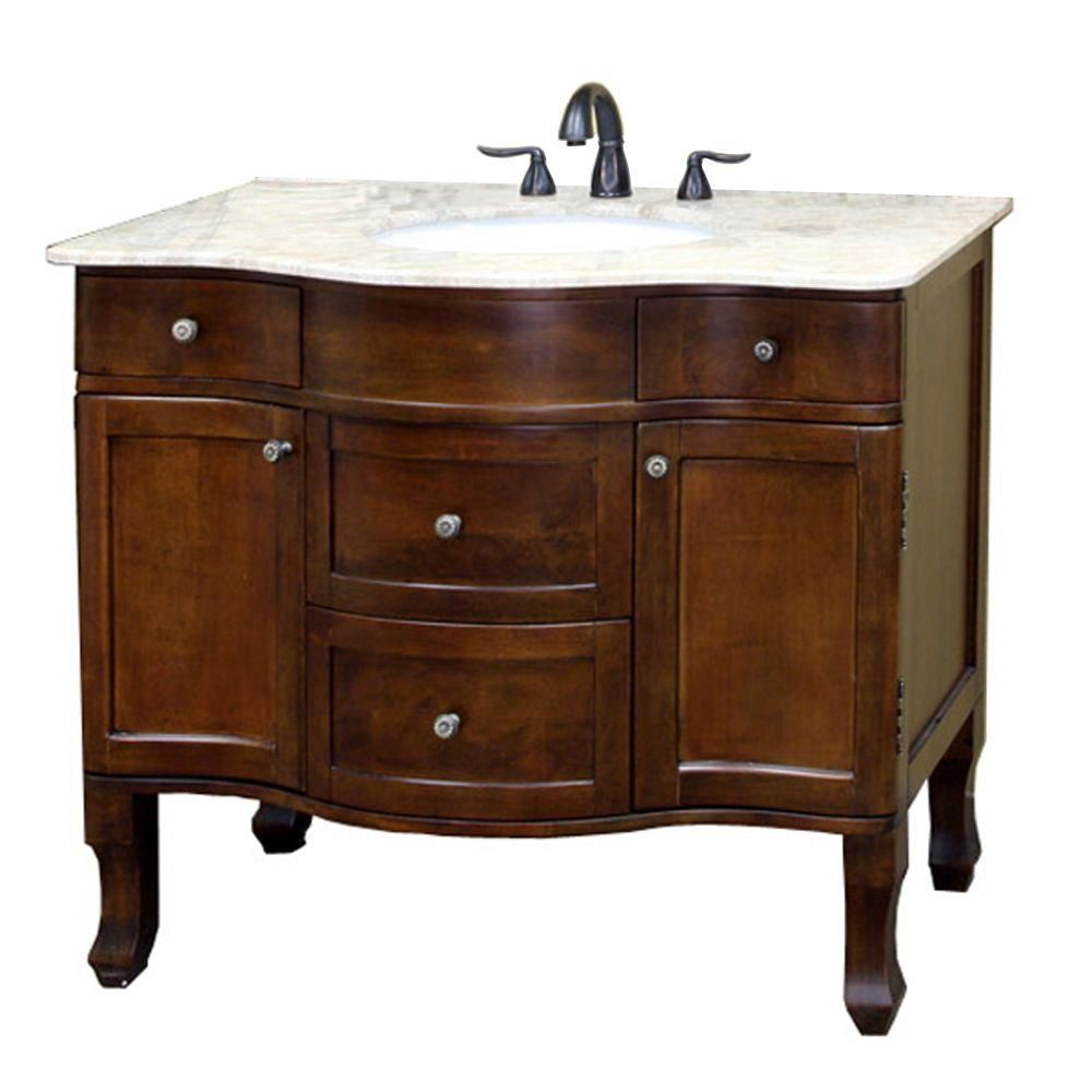 Yorkshire 39-inch W Vanity in Walnut Finish with Marble Top in Cream