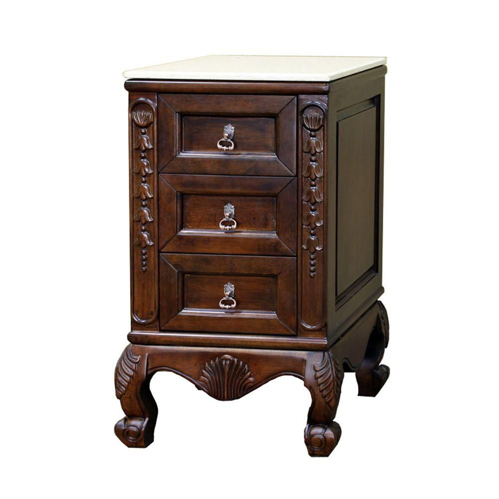 Wright 20-inch W Side Chest Vanity in Medium Walnut with Marble Top