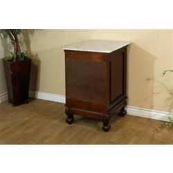 Bellaterra Wright White 20 In. Marble Top Side Chest Cabinet in Medium Walnut