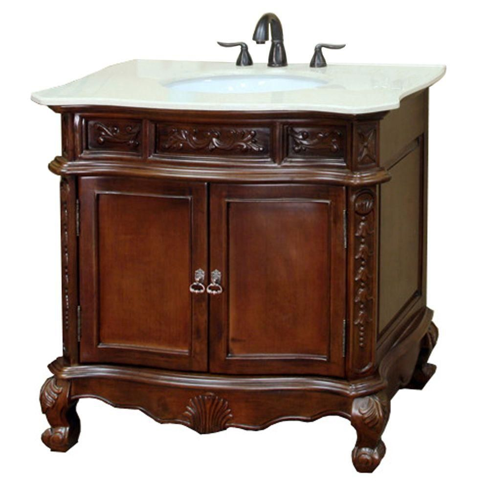 Ashby 34 1/2-inch W Vanity in Walnut with Marble Vanity Top in Cream