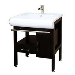 Bellaterra Belgrade 28-inch W x 22-inch D Single Sink Wood Vanity in Dark Espresso with Porcelain Top in White