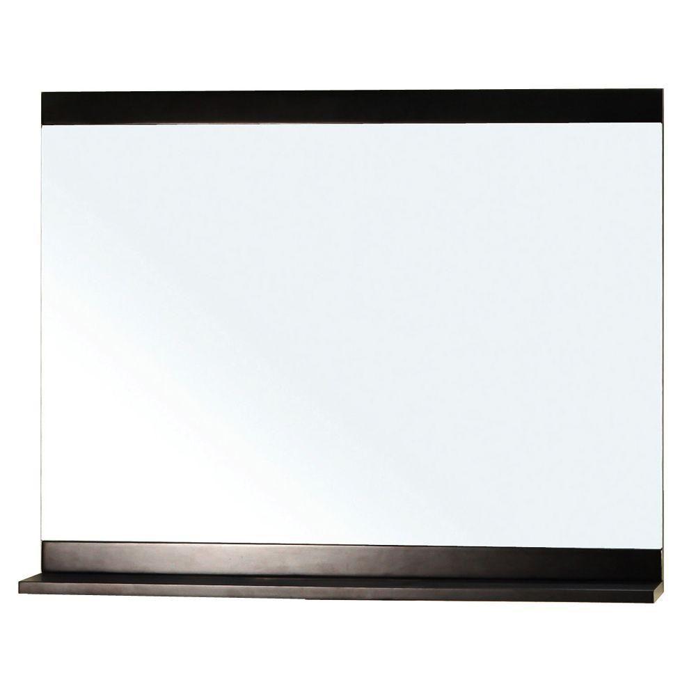Bellaterra Belfast 30 In. L X 36 In. W Solid Wood Frame Wall Mirror in Dark Espresso