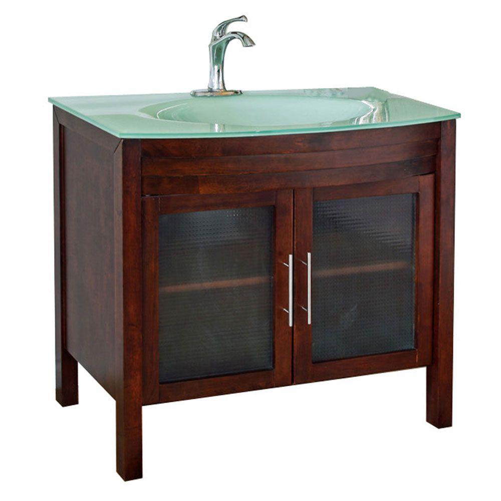 Bradford W 40-inch W Vanity in Walnut Finish with Glass Top in Aqua