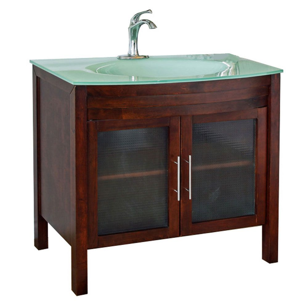 Bellaterra Bradford W 40-inch Single Vanity in Walnut with Glass Vanity Top in Aqua