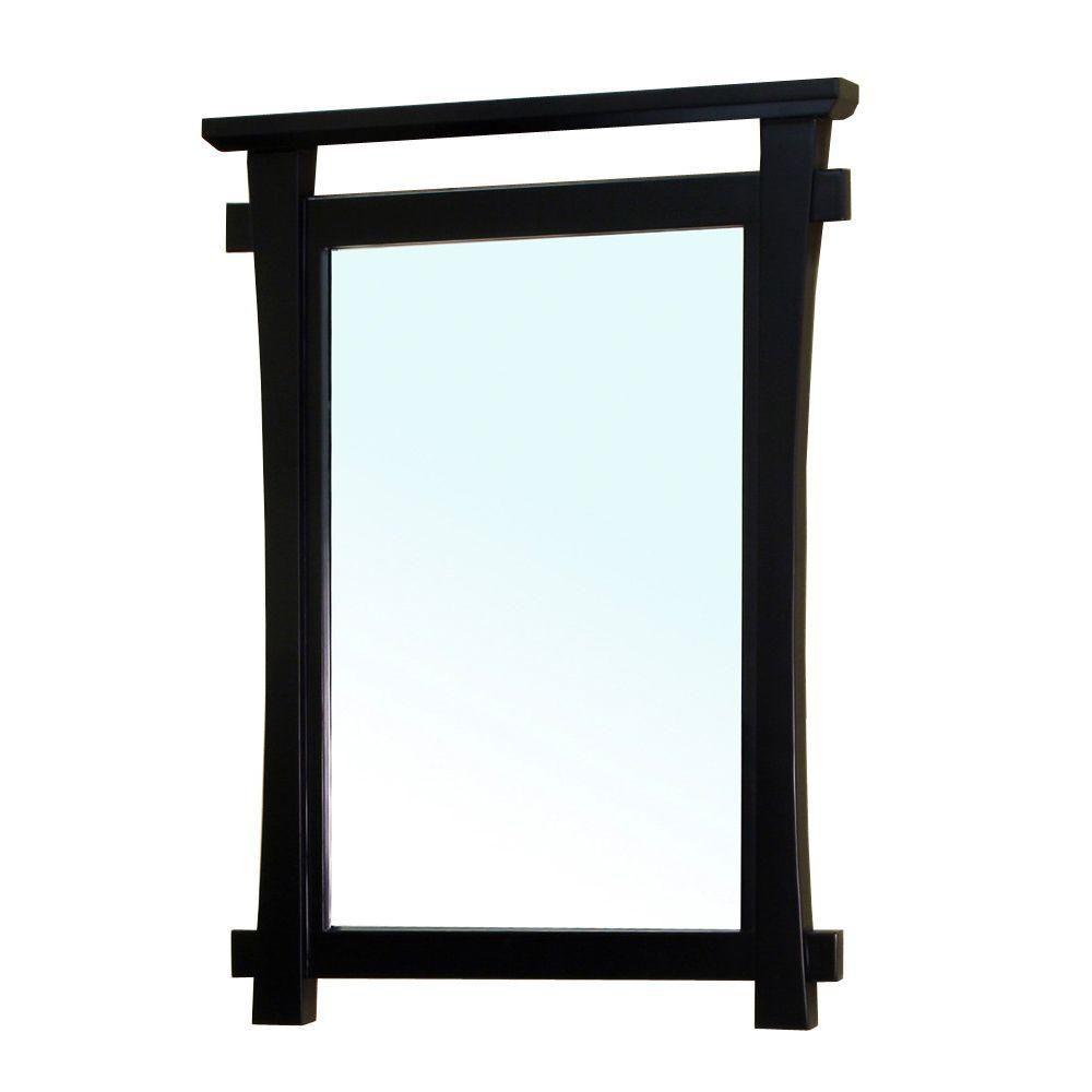 Bellaterra Milton 38 In. L X 28 In. W Solid Wood Frame Wall Mirror in Black