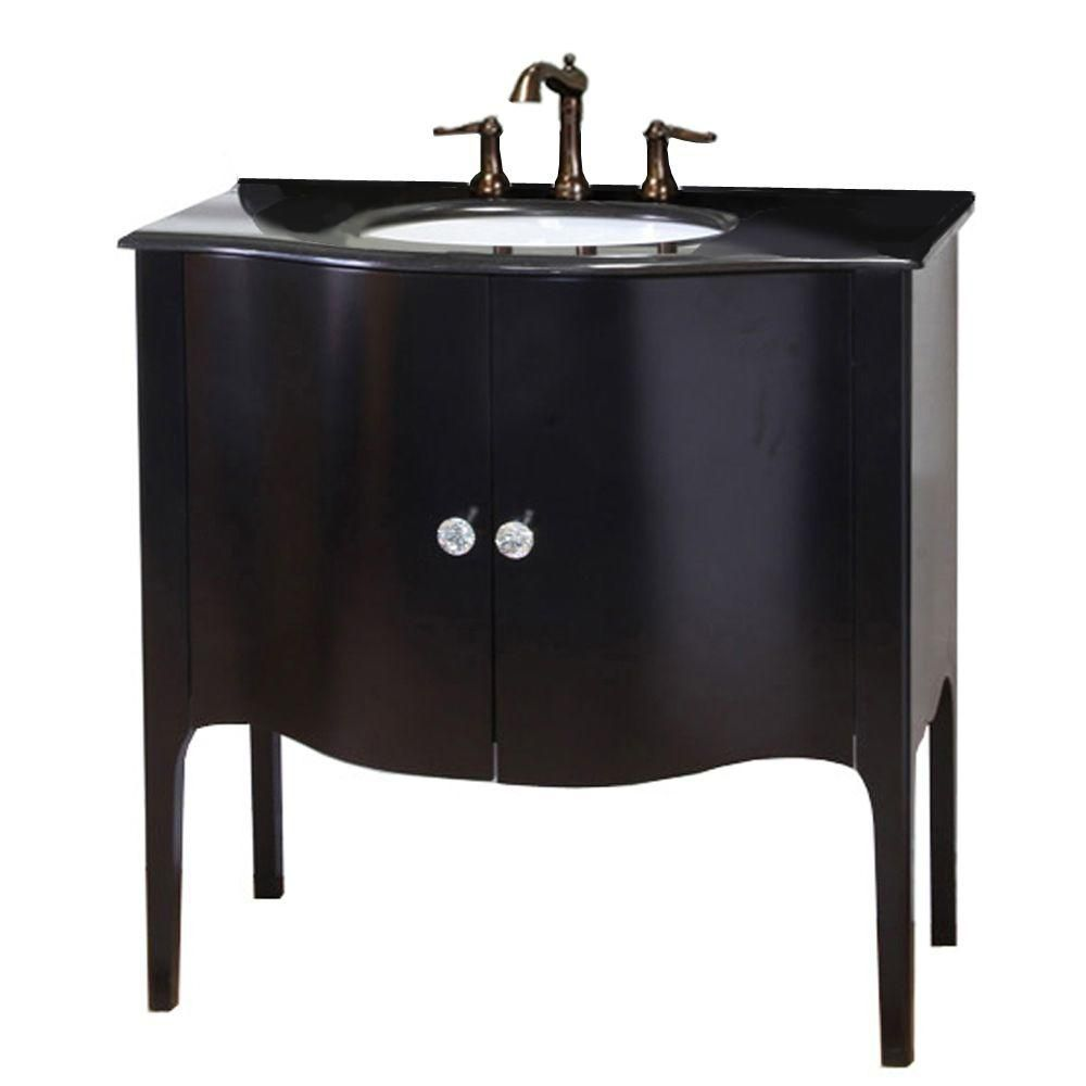 Bellaterra Pallazo W 2 Door Freestanding Vanity In Black With Granite Top In Black