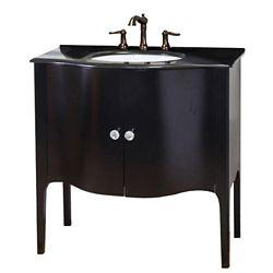 Bellaterra Pallazo Meuble-lavabo noir de 36-6/10 po avec comptoir en granit noir