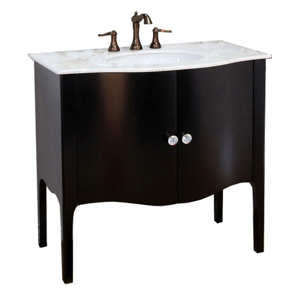Bellaterra Pallazo III 36.60-inch W 2-Door Freestanding Vanity in Black With Marble Top in White
