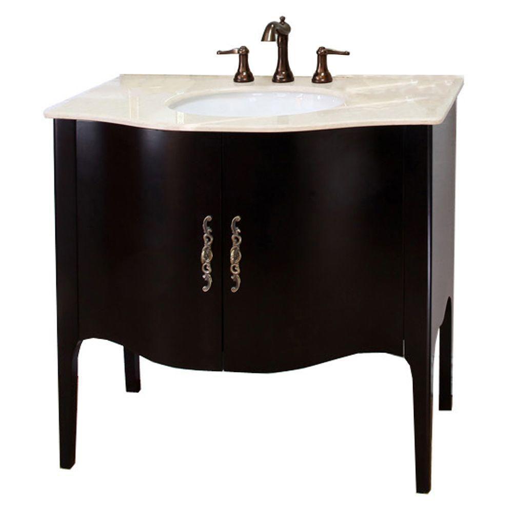 Bellaterra Pallazo II 36.60-inch W 2-Door Freestanding Vanity in Brown With Marble Top in Beige Tan