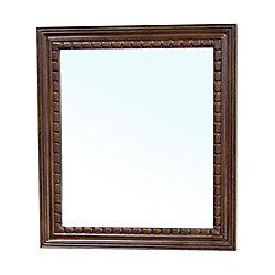 Bellaterra Dalton 32 In. L X 36 In. W Solid Wood Frame Wall Mirror in Medium Walnut