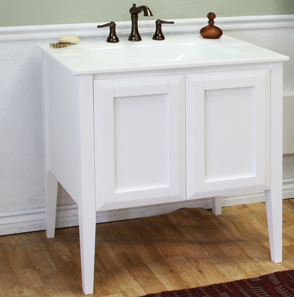 33 1/2-inch W Vanity in White Finish with Glass Top in White