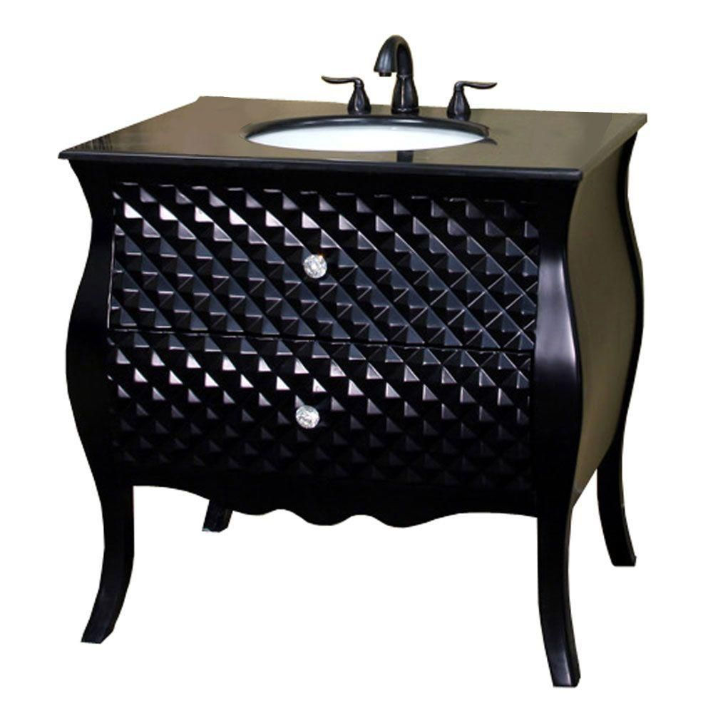 Bellaterra Veneto 35.40-inch W 2-Drawer Freestanding Vanity in Black With Granite Top in Black