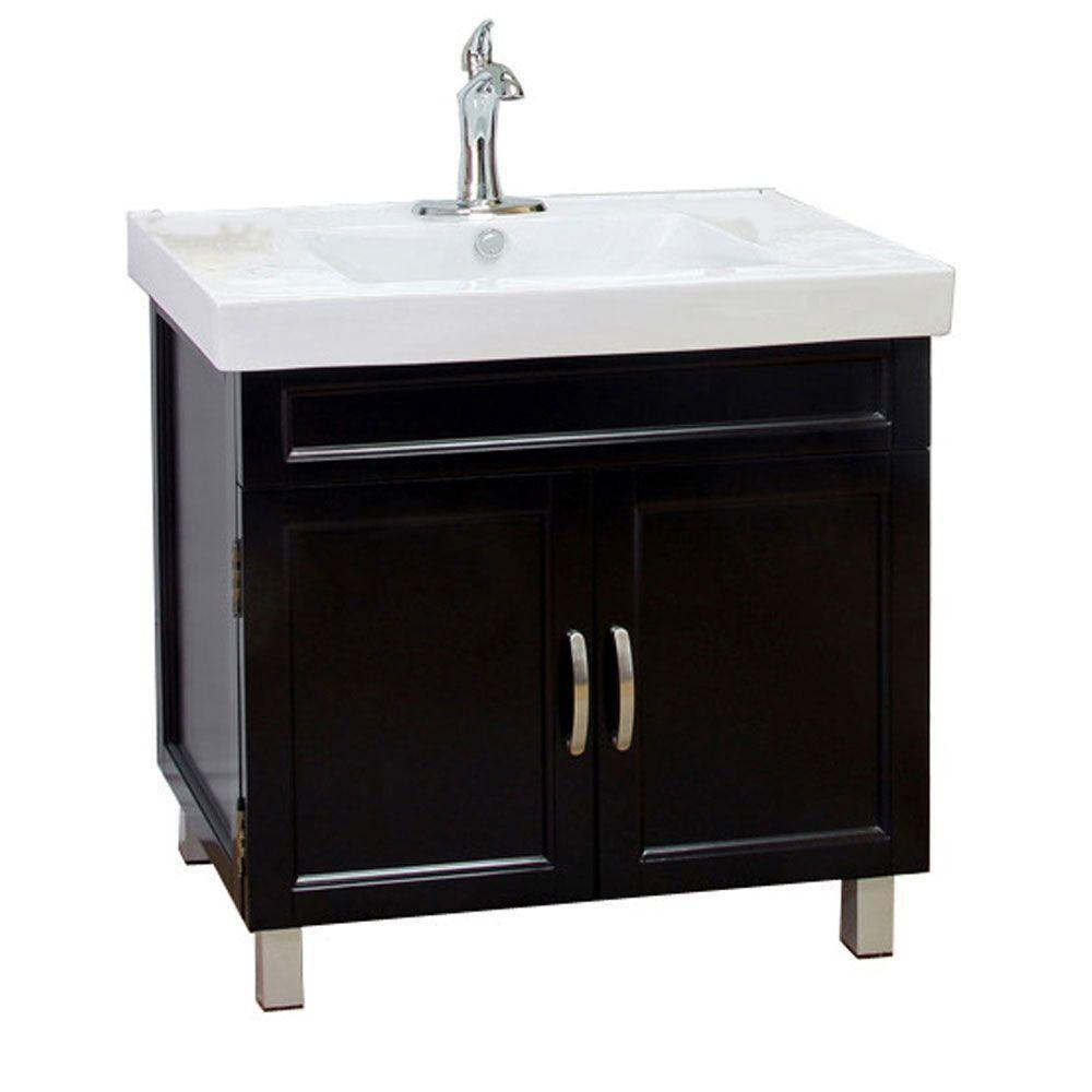 Flemish B Meuble-lavabo noir de 32 po avec comptoir en céramique blanche