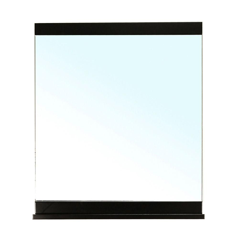 Clogher 37 In. L X 28 In. W Solid Wood Frame Wall Mirror in Black