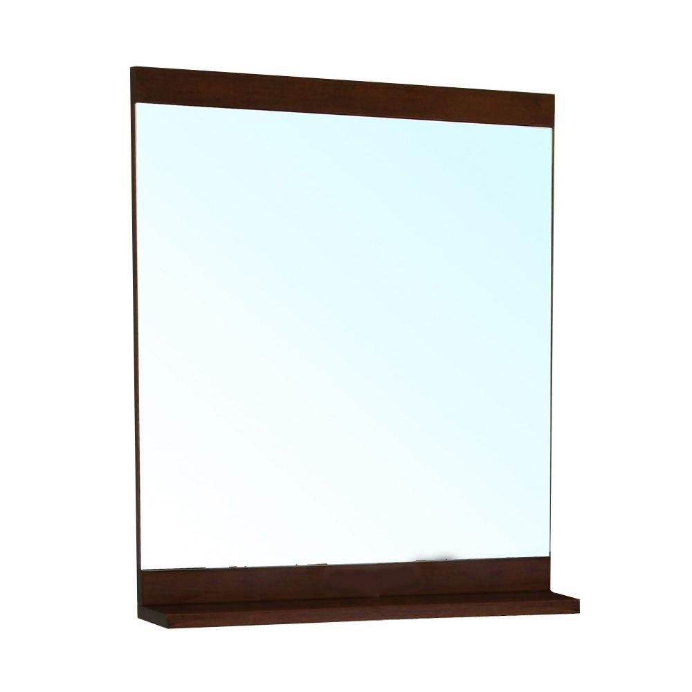 Bellaterra Cashel 37 In. L X 28 In. W Solid Wood Frame Wall Mirror in Medium Walnut