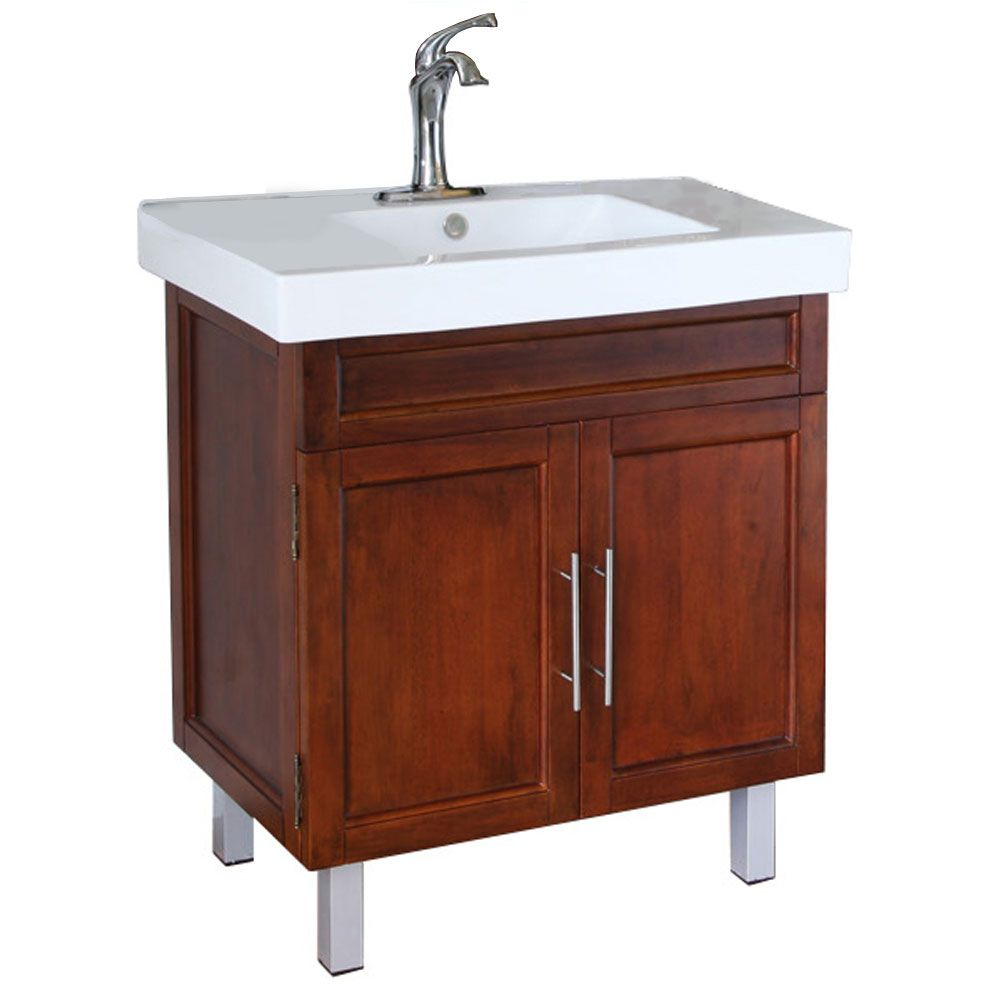 Flemish B 32-inch W Vanity in Walnut Finish with Ceramic Top in White