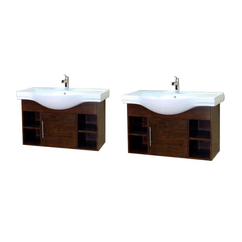 Urban 81-inch W Double Vanity in Walnut with Ceramic Vanity Top in White