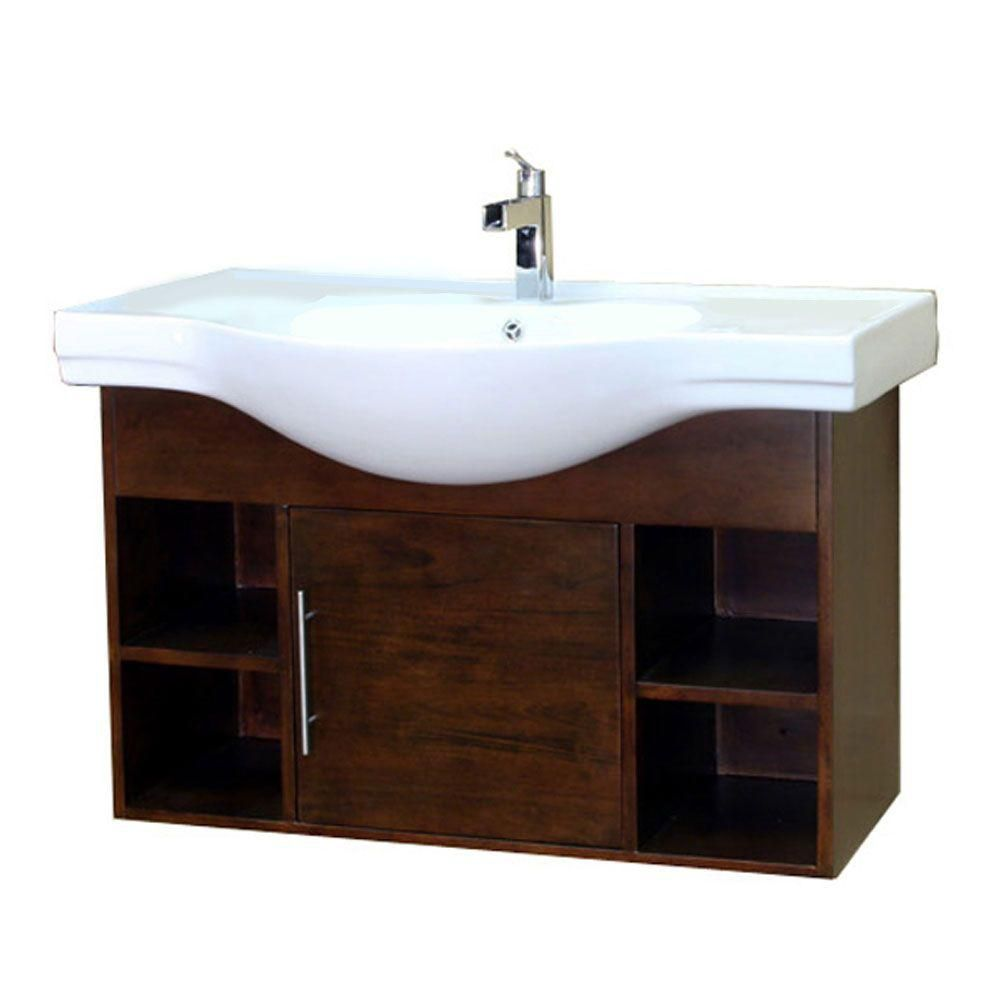 Bellaterra Urban 40.50-inch W 1-Door Wall Mounted Vanity in Brown With Ceramic Top in White