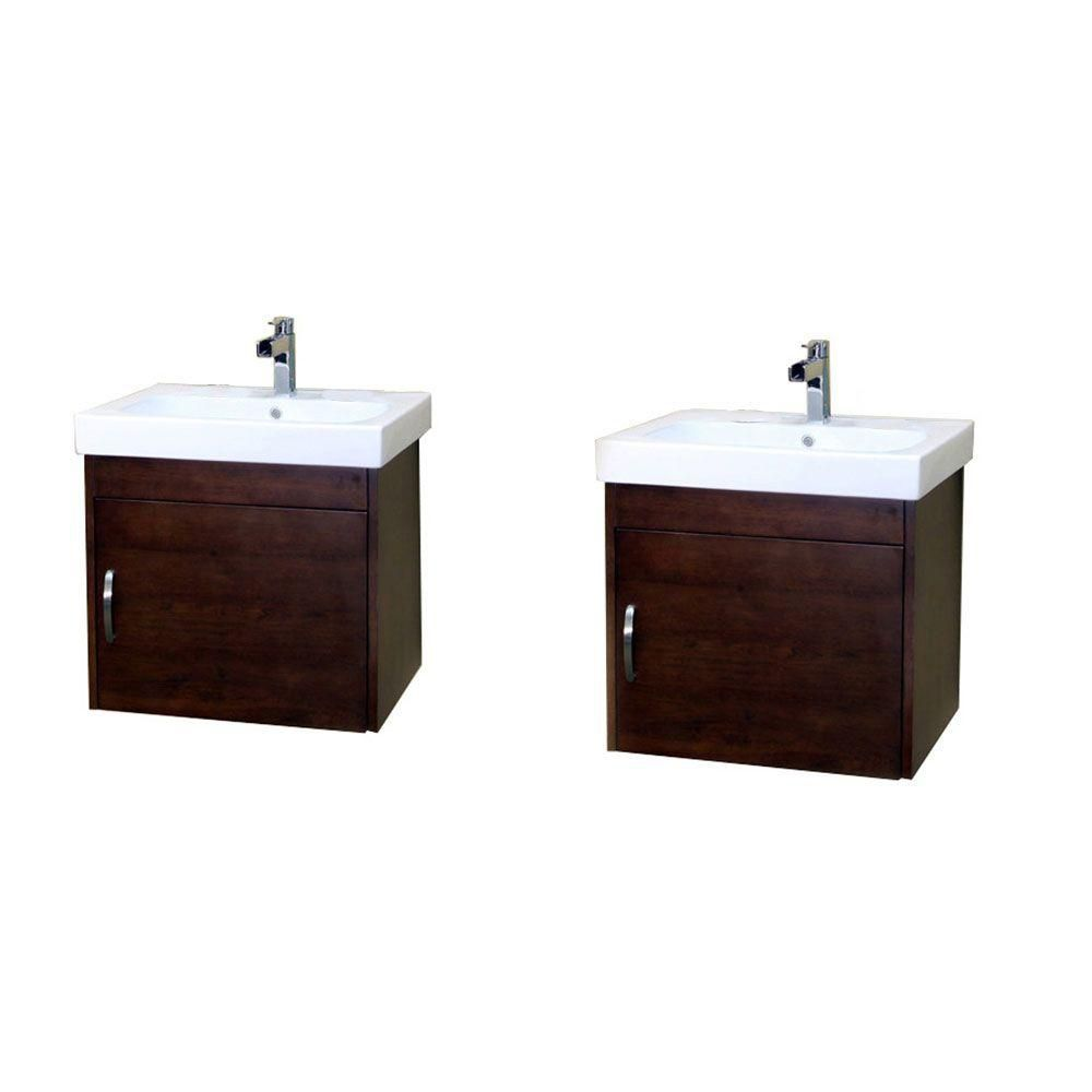 Randstad D 49-inch W Double Vanity in Walnut Finish with Ceramic Top in White