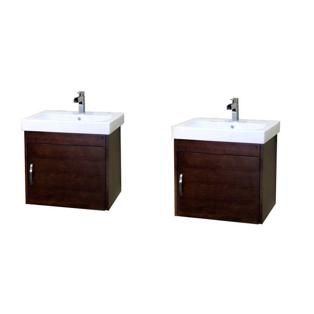 Randstad D Meuble-lavabo double noyer de 49 po avec comptoir en céramique blanche
