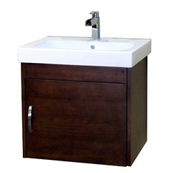 Bellaterra Randstad S 24.40-inch W 1-Door Wall Mounted Vanity in Brown With Ceramic Top in White