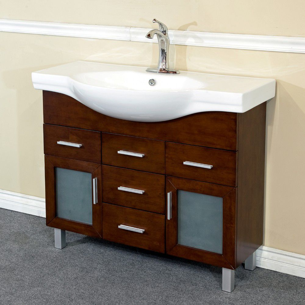 40-inch W Vanity in Walnut with Ceramic Top in White