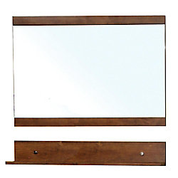 Bellaterra Charles 34 In. L X 40 In. W Wall Mirror in Walnut