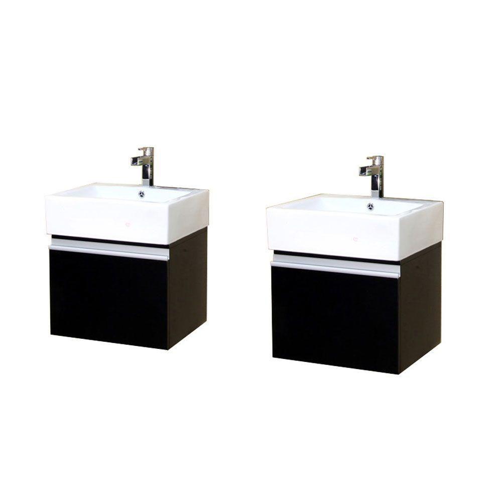 Alex D 41-inch W Double Vanity in Dark Espresso Finish with Ceramic Top in White
