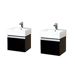 Bellaterra Alex 41-inch W 2-Door Wall Mounted Vanity in Brown With Ceramic Top in White, Double Basins