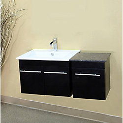 Bellaterra 39.40-inch W 1-Drawer 2-Door Wall Mounted Vanity in Black With Ceramic Top in Brown