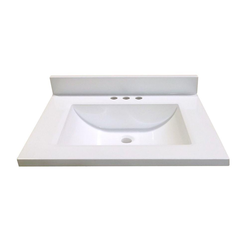 Revêtement de comptoir pour meuble-lavabo en blanc avec lavabo à fond incurvé de 63,5 cm x 48,26 ...