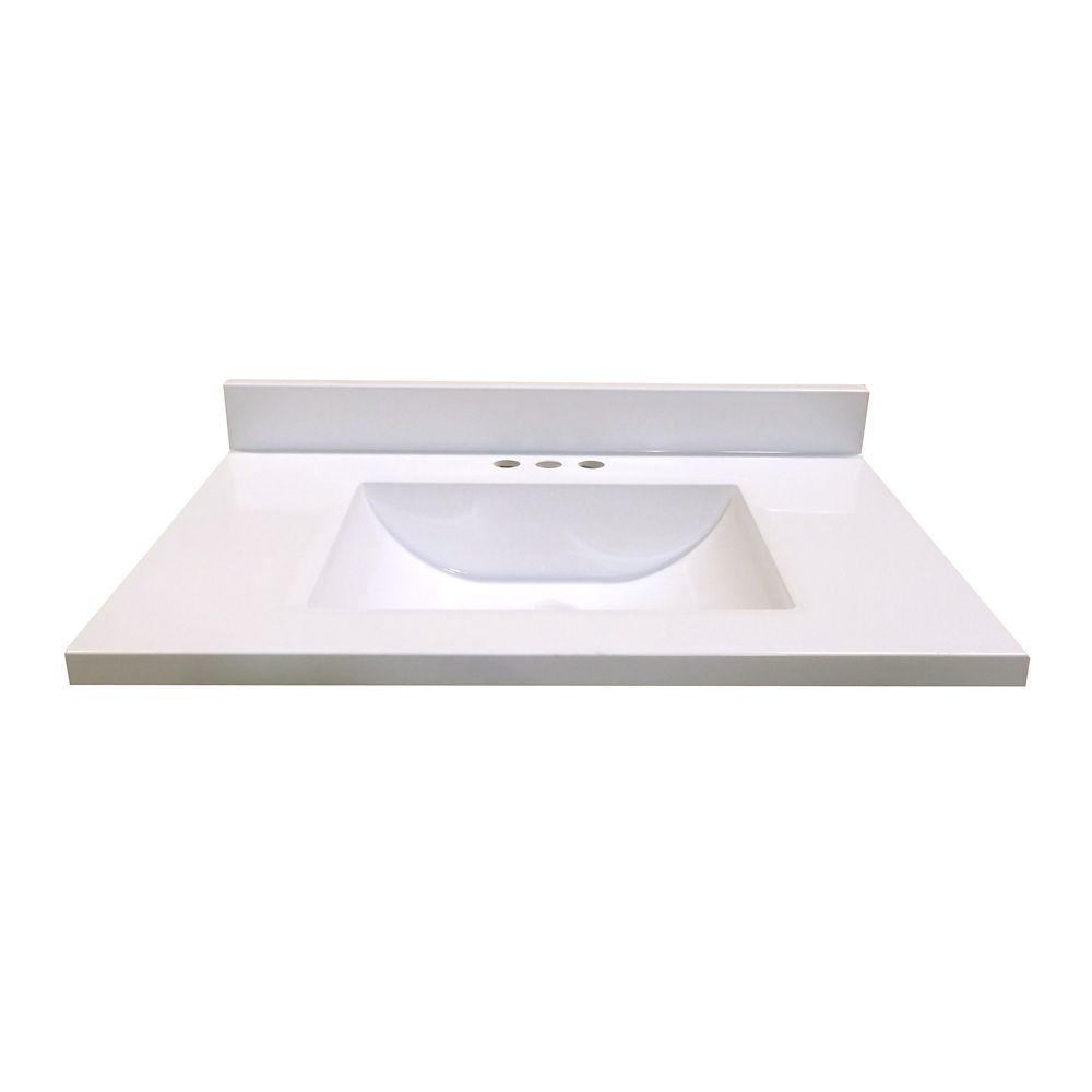 X 19 Inch D Marble Vanity Top In White