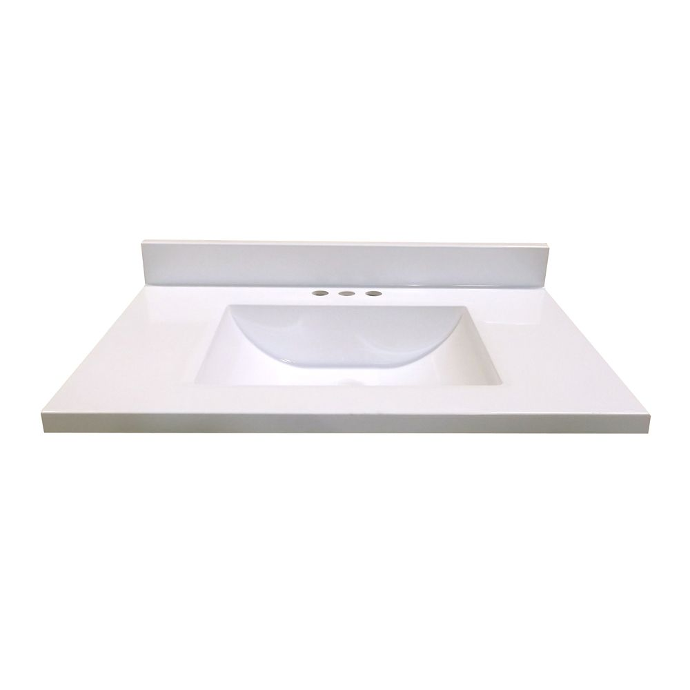 31-Inch W x 19-Inch D Marble Vanity Top in White with Wave Bowl