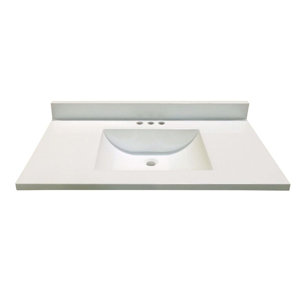 Revêtement de comptoir pour meuble-lavabo en blanc avec lavabo à fond incurvé de 93,98 cm x 48,26...