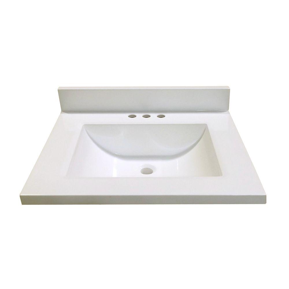 Revêtement de comptoir pour meuble-lavabo en blanc avec lavabo à fond incurvé de 63,5 cm x 55,88 ...