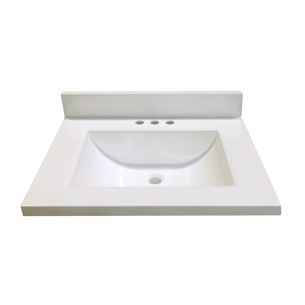 25-Inch W x 22-Inch D Marble Vanity Top in White with Wave Bowl
