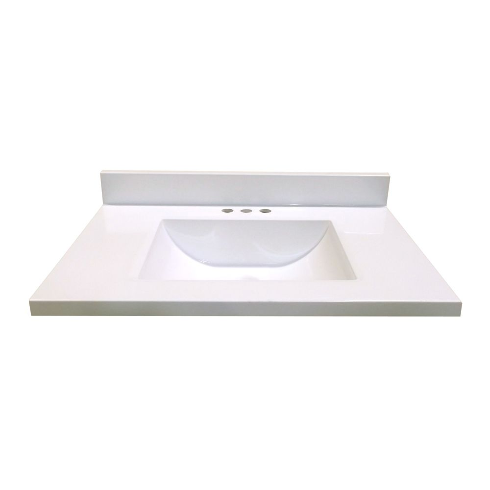 31 In. W x 22 In. D White Vanity Top with Wave Bowl