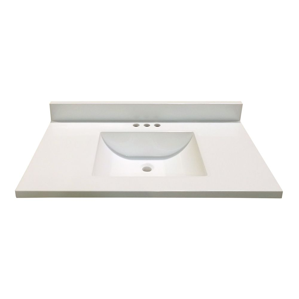 37-Inch W x 22-Inch D Marble Vanity Top in White with Wave Bowl