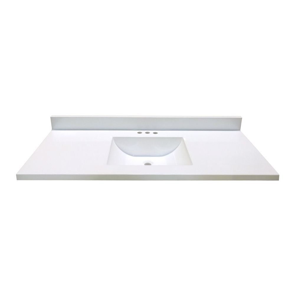 49 In. W x 22 In. D White Vanity Top with Wave Bowl